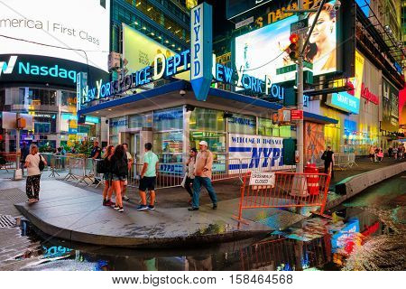 NEW YORK,USA - AUGUST 21,2016 : Police Station at Times Square in New York City