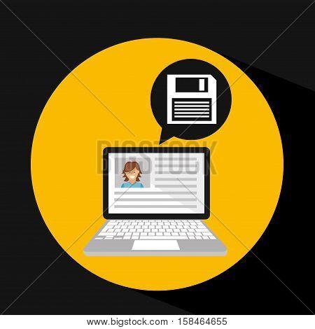 laptop social profile floppy disk icon vector illustration eps 10