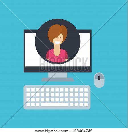 girl short hair community social network vector illustration eps 10