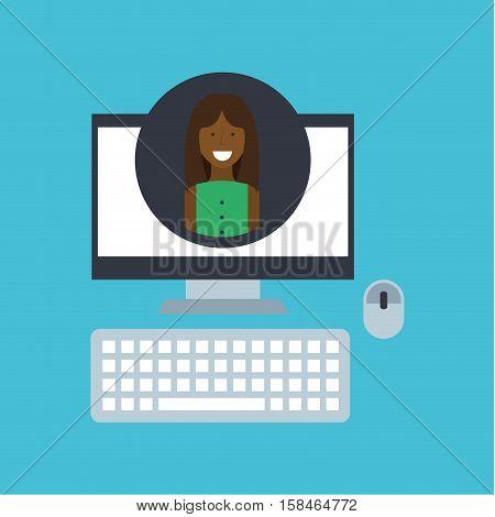 girl afroamerican community social network vector illustration eps 10