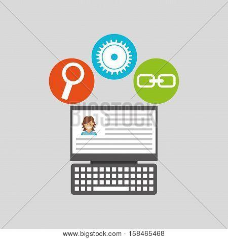 laptop profile technology social media concept vector illustration eps 10