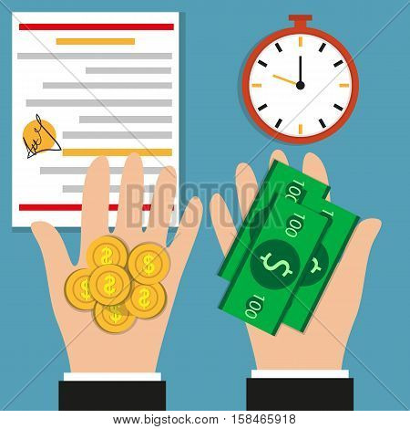 The Hands Of Man. Time. Watch Medal. Coins And Bills. Money. Flat Design.