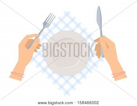 Female hands with steel fork and knife and empty plate on a table napkin. Flat concept illustration of dishware and silverware. Vector elements for web design social networks and inforaphics.