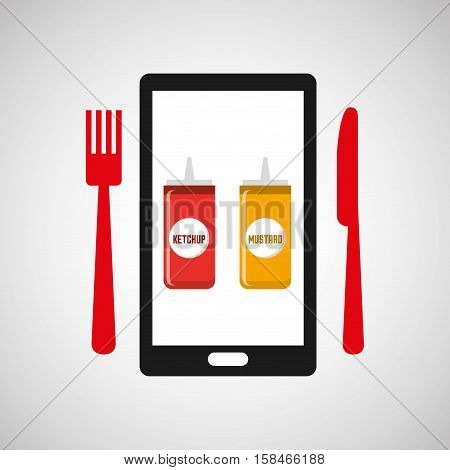 smartphone order sauces food online vector illustration eps 10