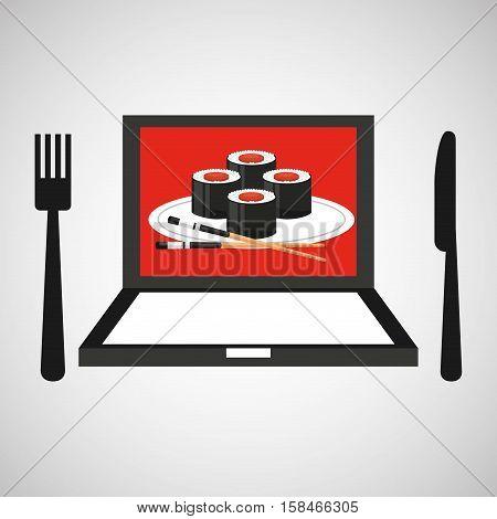 online delivery sushi rolls vector illustration eps 10