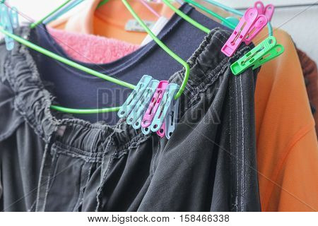 Plastic clothespin pin Close up and chintz drying on washing line