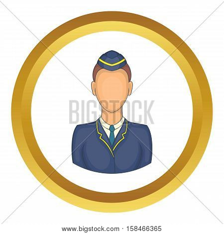 Woman train conductor vector icon in golden circle, cartoon style isolated on white background