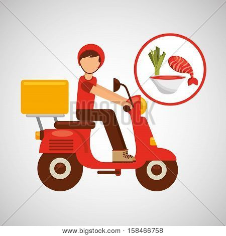 delivery boy ride motorcycle vector illustration eps 10