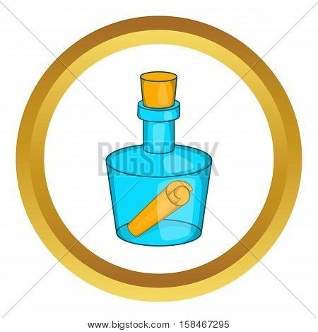 Bottle with letter vector icon in golden circle, cartoon style isolated on white background