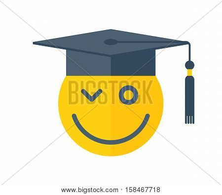 School and education concept. Vector flat illustration of emoji smile with graduation hat. Happy yellow emoticon and college cap with tassel. Element for web design and university infographic.