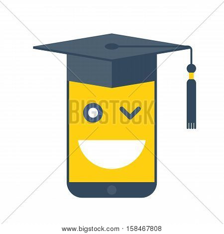 Online school and e-learning concept. Vector flat illustration of phone with graduation hat. Smartphone with emoji smile on the screen. Element for web design and digital tele education infographic.