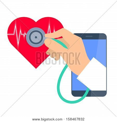 Heart pulse examination by phone. Telemedicine and telehealth flat concept illustration. Doctor's hand from phone hold a stethoscope and exams heartbeat. Vector tele health and online medicine element