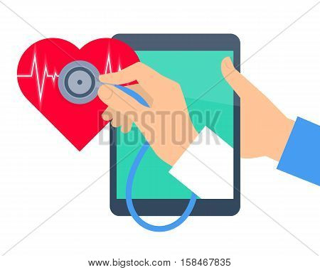 Heart pulse examination by tablet computer. Telehealth and telemedicine flat concept. Doctor's hand from pad screen holding a stethoscope and diagnosing heartbeat. Vector online medicine illustration.