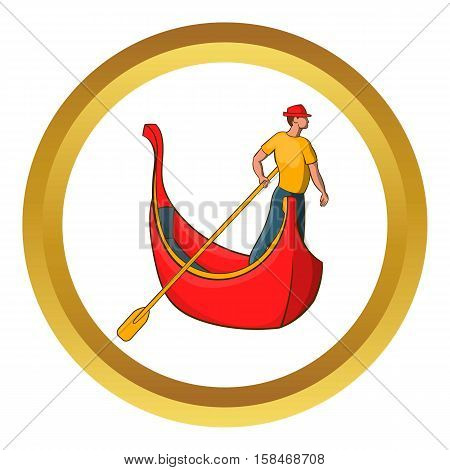Venice gondola and gondolier vector icon in golden circle, cartoon style isolated on white background