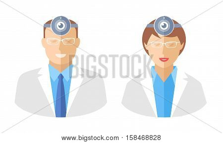 Doctors with web cams. Telemedicine and telehealth flat concept illustration. Avatars of male and female medic with web camera on a heads. Vector elements for tele medical and health infographics.