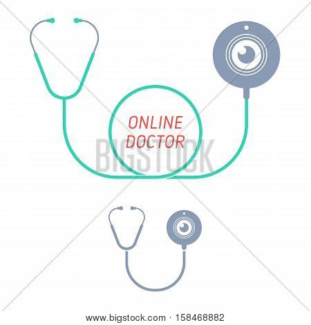 Stethoscope with web cam. Telemedicine and telehealth flat concept illustration and icon. Medical equipment with web camera. Vector elements for tele medical health and technology infographics.