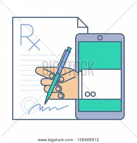 Doctor signing a prescription rx blank by phone. Telemedicine and telehealth vector flat line concept illustration. Medic from phone puts his signature on the document. Tele health and online medicine
