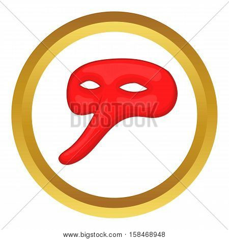Plague doctor mask vector icon in golden circle, cartoon style isolated on white background