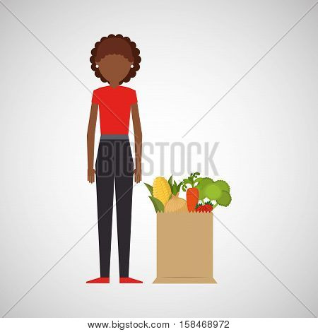 cartoon girl afroamerican grocery bag vegetables vector illustration eps 10