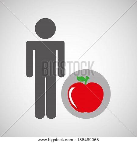 silhouette man apple nutrition healthy vector illustration eps 10