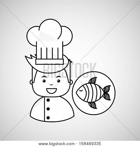 cartoon chef gourmet fresh fish vector illustration eps 10