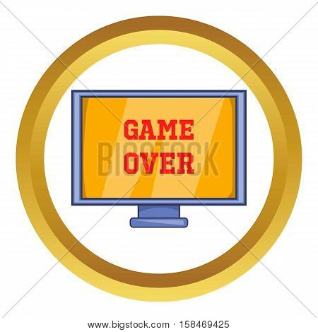 Game over screen vector icon in golden circle, cartoon style isolated on white background