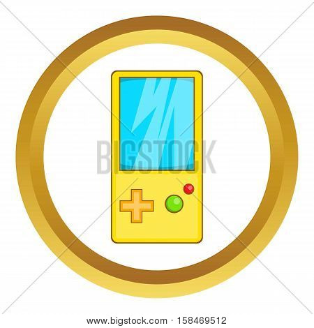 Pocket tetris vector icon in golden circle, cartoon style isolated on white background