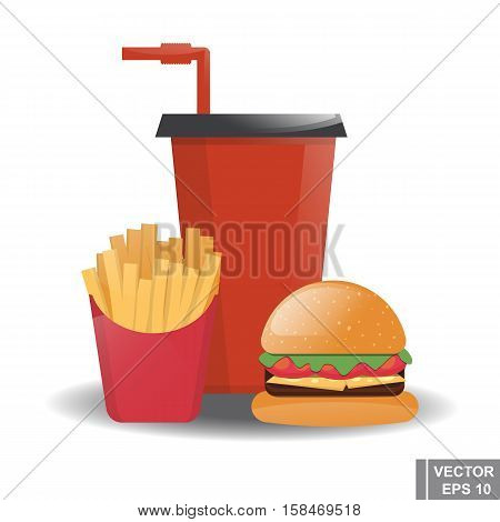 Food. Cheeseburger. Cola. French Fries. Fast Food