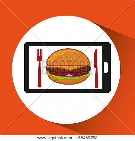 smartphone order hamburger food online vector illustration eps 10