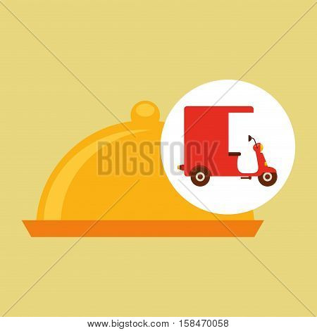 delivering motorcycle food platter vector illustration eps 10