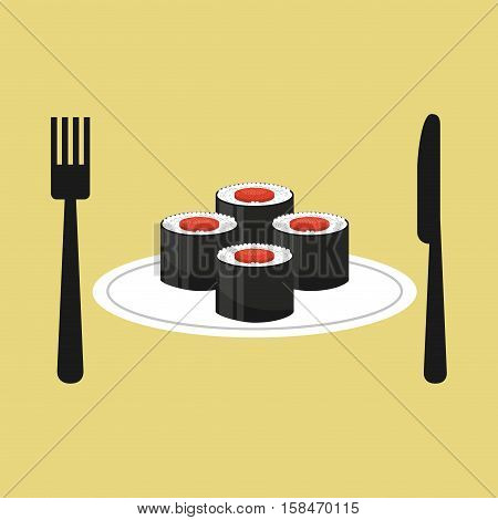 online delivery sushi rolls vector illustration eps 10