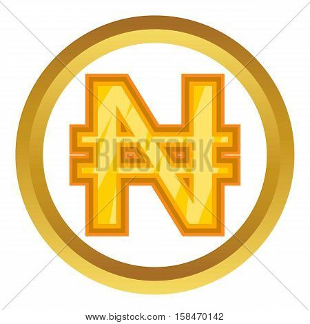Nigerian naira vector icon in golden circle, cartoon style isolated on white background
