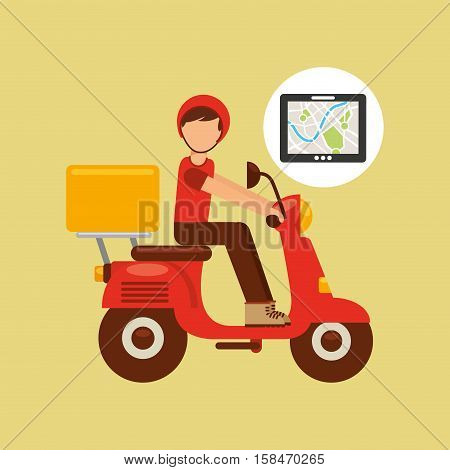 hand hold tablet delivery food boy vector illustration eps 10