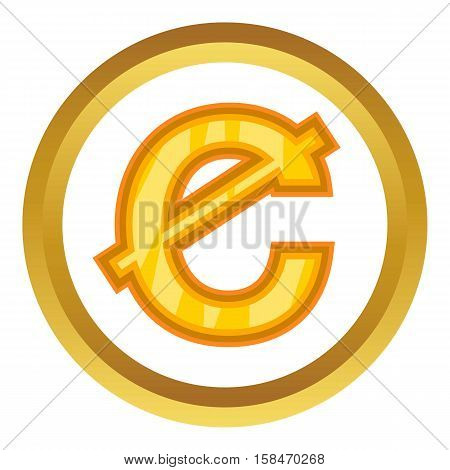 Ghanaian cedi vector icon in golden circle, cartoon style isolated on white background