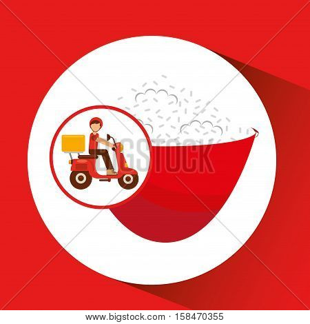 delivery boy ride motorcycle japanese rice vector illustration eps 10