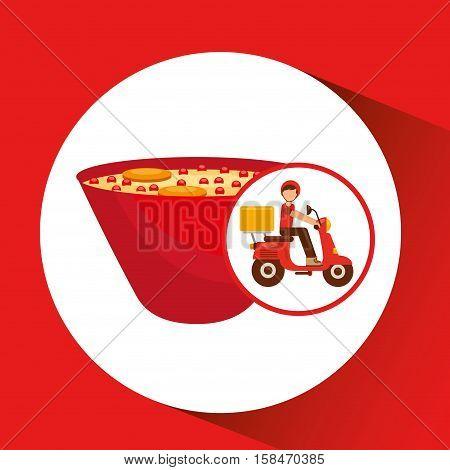 delivery boy ride motorcycle ramen vector illustration eps 10