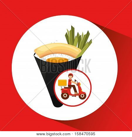 delivery boy ride motorcycle traditional japanese food vector illustration eps 10