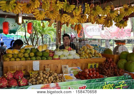 Various Type Of Fruits In A Market In Pattaya