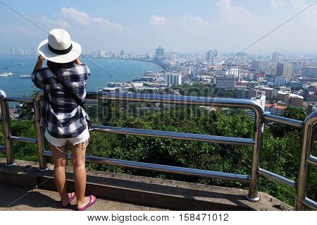 PATTAYA THAILAND - 22 NOV 2016: View of building and Pattaya beach at viewpoint Pratumnak Hill in Pattaya Thailand