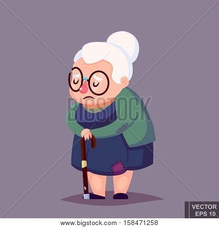 Cartoon Poor Senior Woman In Old Clothes With Cane And Glasses. Vector Illustration.