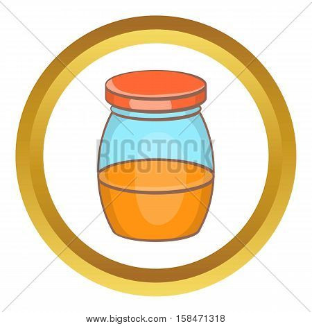 Honey jar vector icon in golden circle, cartoon style isolated on white background