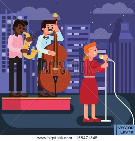Vector Flat Style Illustration Of Woman Star Celebrity Singer In Red Dress With Two Men Musicians