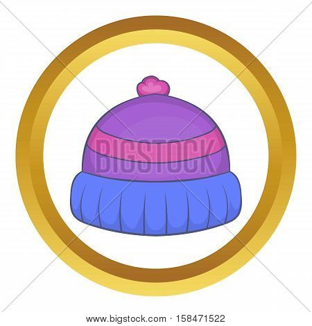 Winter knitted hat with pompon vector icon in golden circle, cartoon style isolated on white background