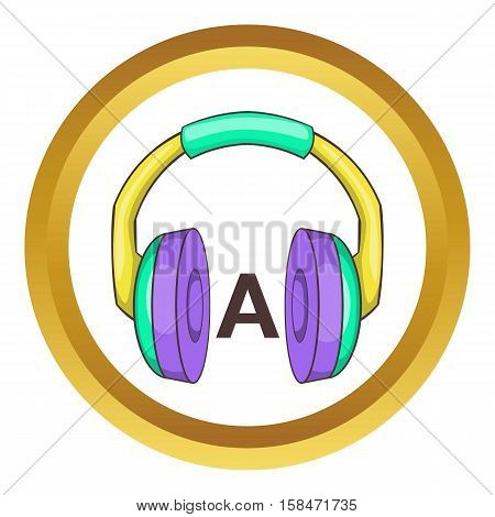 Headphones for language learning vector icon in golden circle, cartoon style isolated on white background