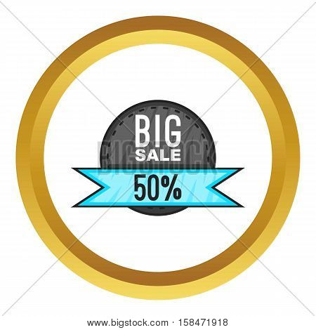 Super sale with 50 discount vector icon in golden circle, cartoon style isolated on white background