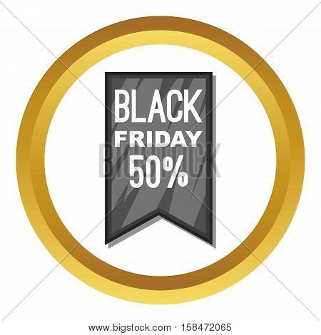 Black Friday sale ribbon vector icon in golden circle, cartoon style isolated on white background