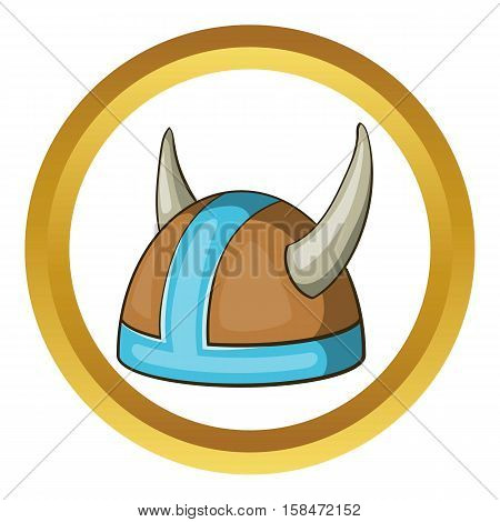 Swedish viking helmet vector icon in golden circle, cartoon style isolated on white background