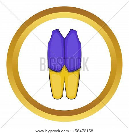 Man traditional swedish costume vector icon in golden circle, cartoon style isolated on white background