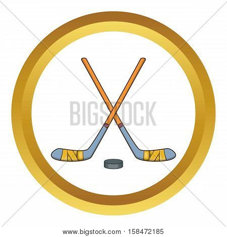 Hockey sticks and puck vector icon in golden circle, cartoon style isolated on white background