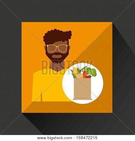 cartoon man afroamerican with shop bag healthy food vector illustration eps 10